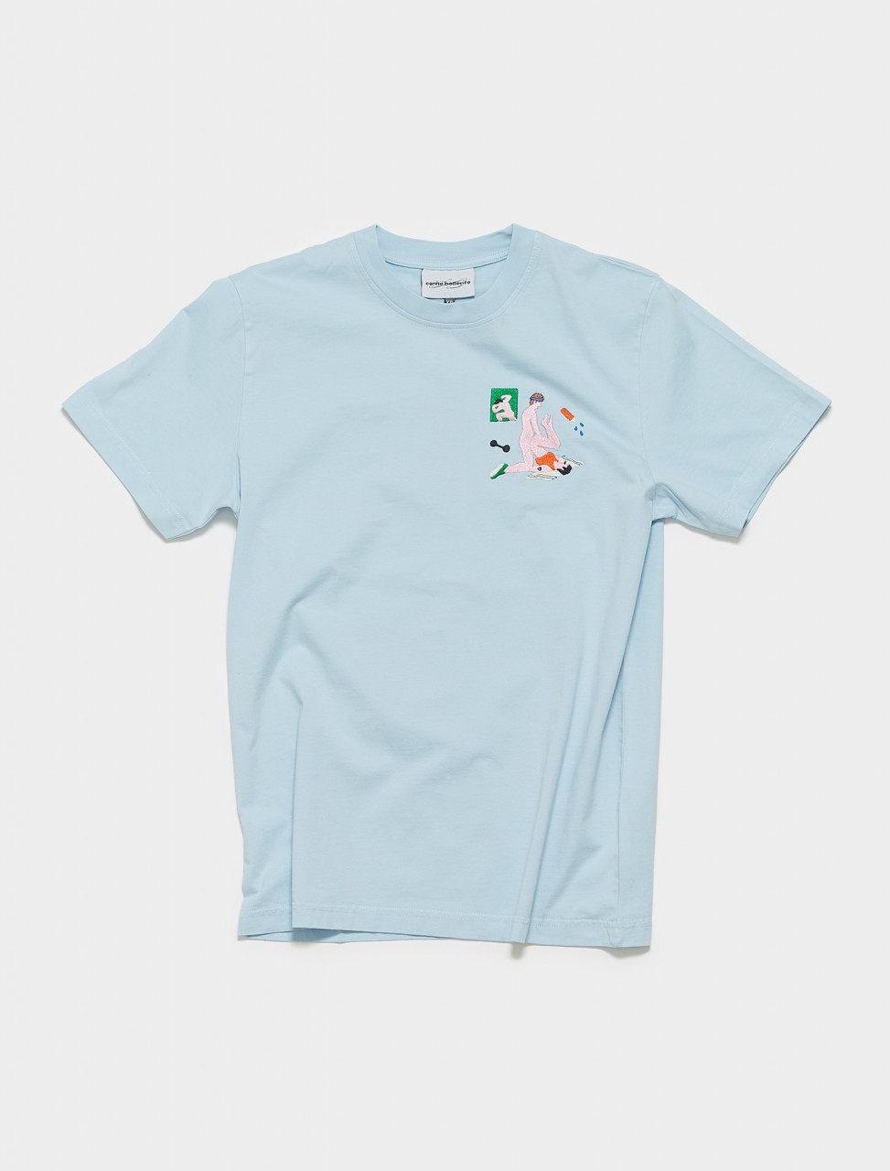 SS21TS01-WB CARNE BOLLENTE AERODICK T SHIRT IN WASHED BLUE
