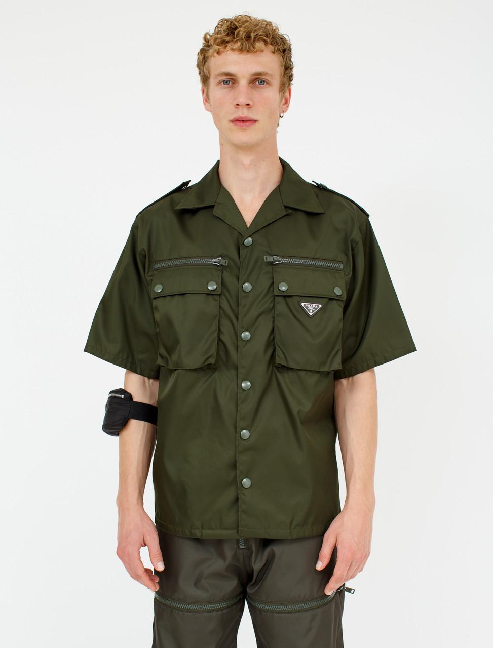 Nylon Gabardine Shirt with Epaulettes