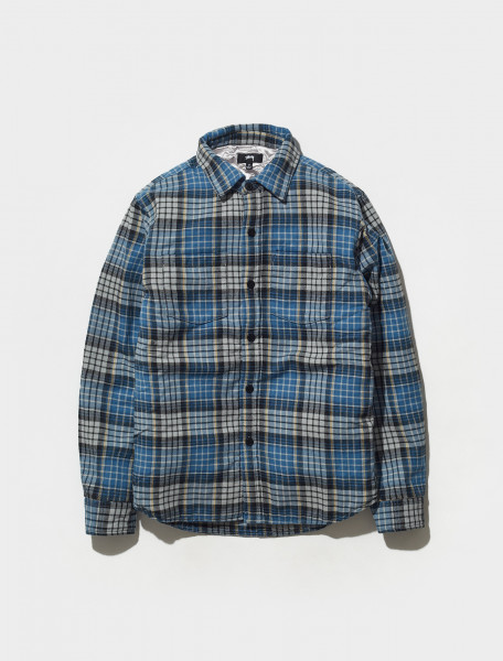 1110190 0801 STÜSSY QUILTED LINED PLAID SHIRT IN BLUE
