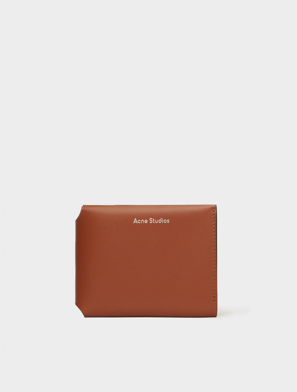 110-CG0097-ADS ACNE STUDIOS TRIFOLD CARD WALLET ALMOND BROWN