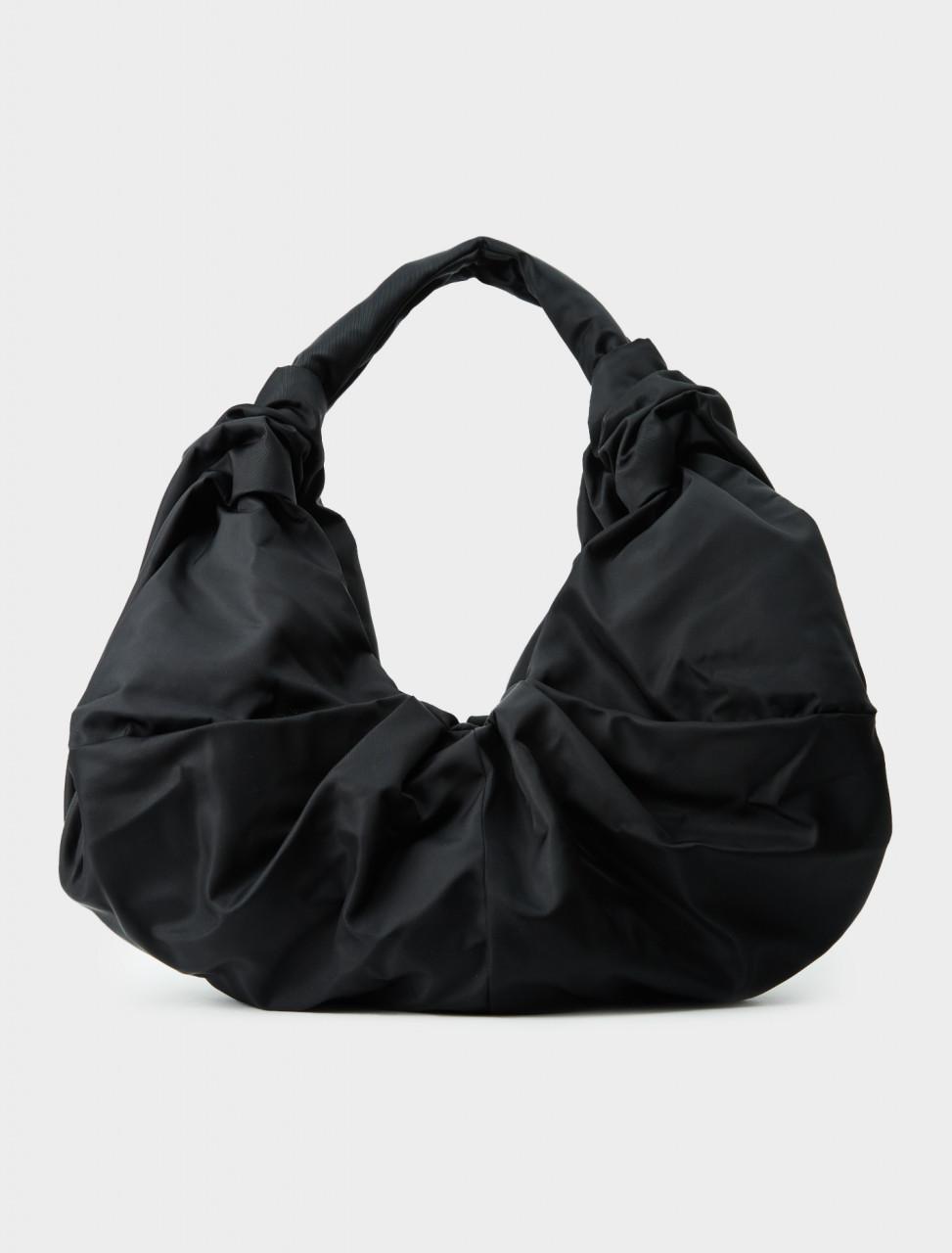 Simone Rocha Taffeta Large Pleated Shoulder Bag with Zip in Black