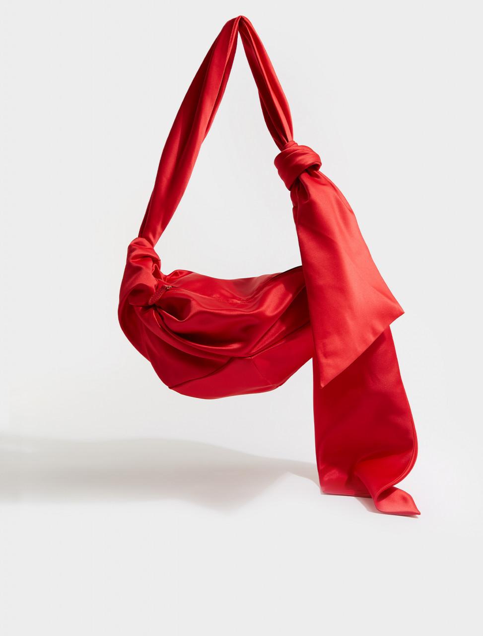 290-BAG96-0262 SIMONE ROCHA LARGE SATIN WRAP SHOULDER BAG RED