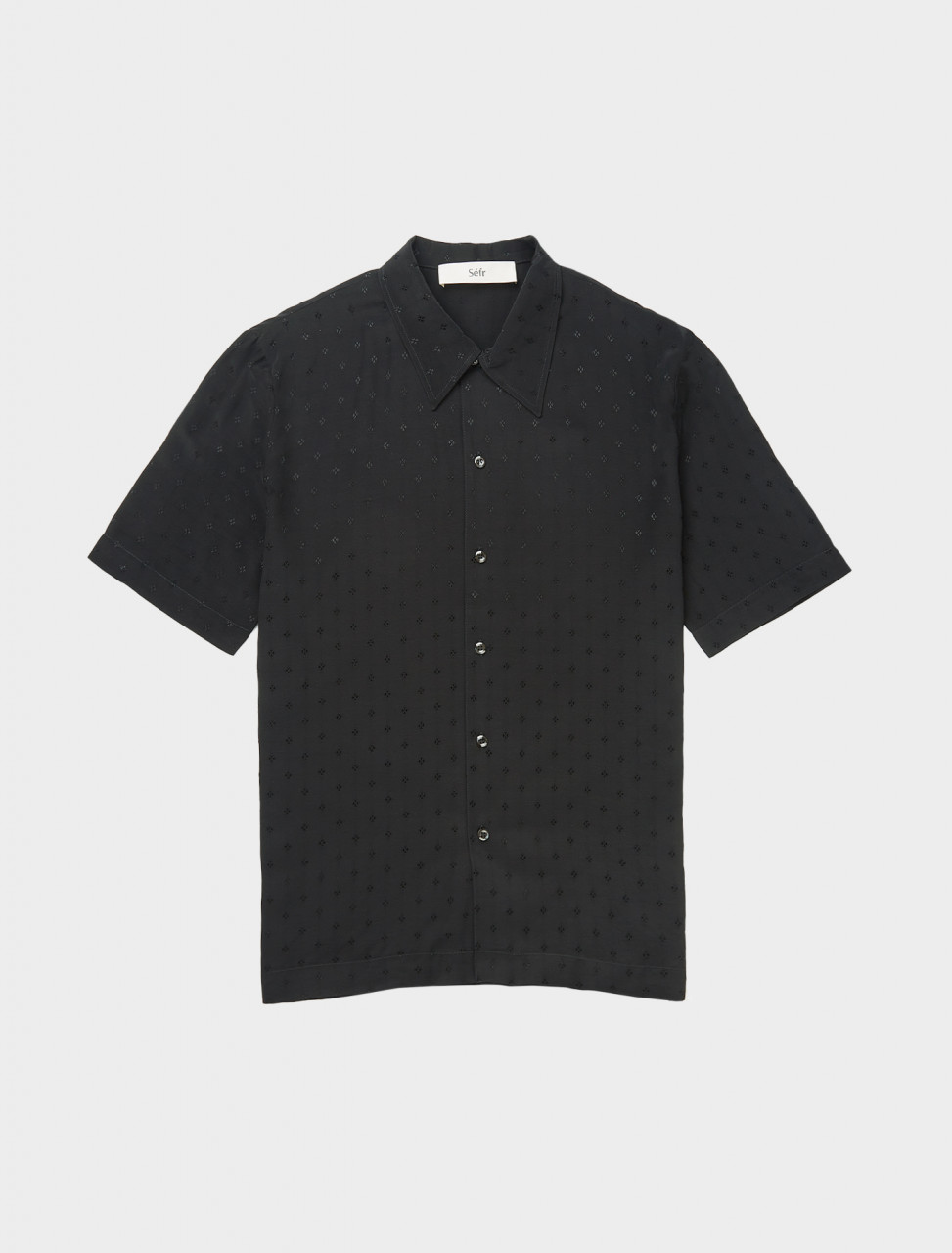 Front view of Séfr Suneham Shirt in Black Print