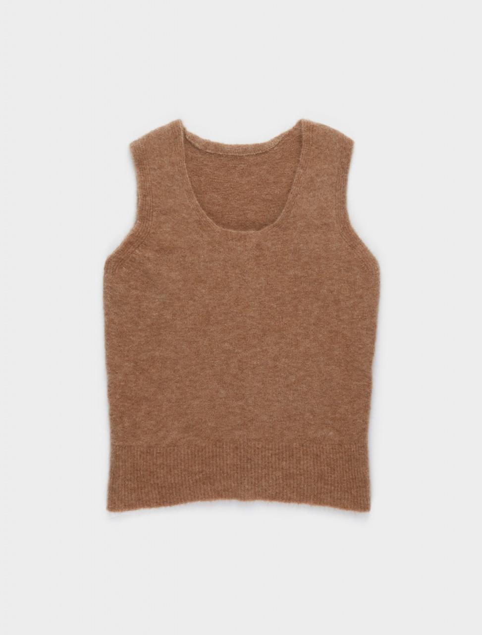 130-JSPR751054-WRY19028-257 JIL SANDER Sleeveles Knitted Top in Dark Beige