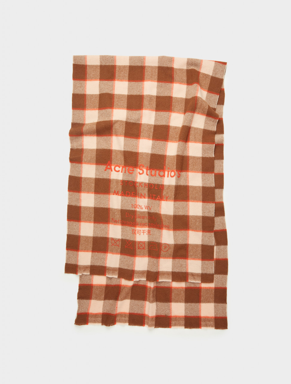 110-CA0026-AEV0 ACNE STUDIOS CHECKED SCARF BROWN PINK