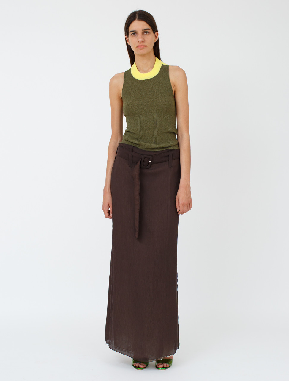 Silk Chiffon Long Skirt