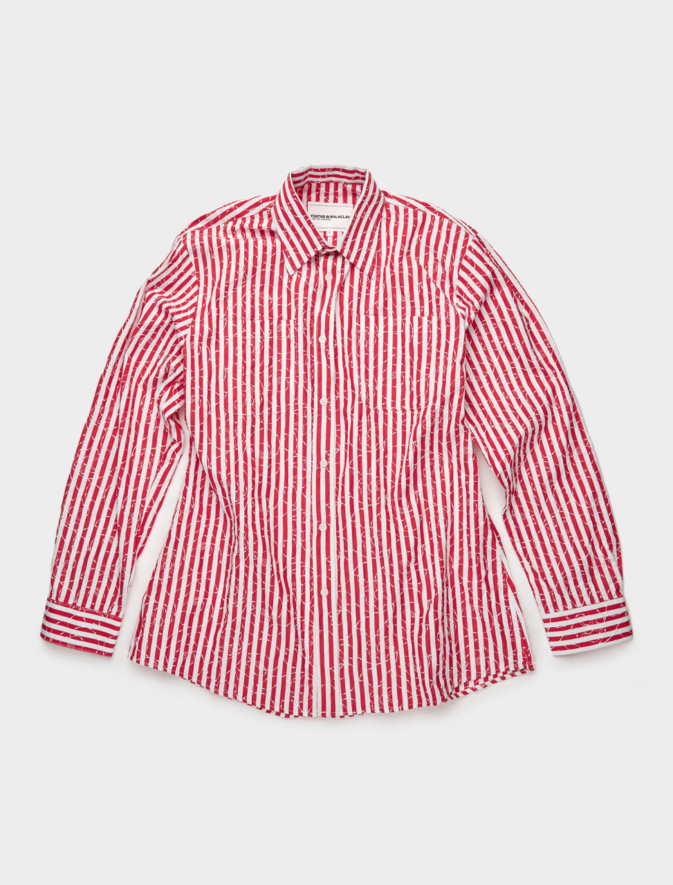 328-YOU01B001-1 YOUTHS IN BALACLAVA FLOWER STRIPE SHIRT IN RED