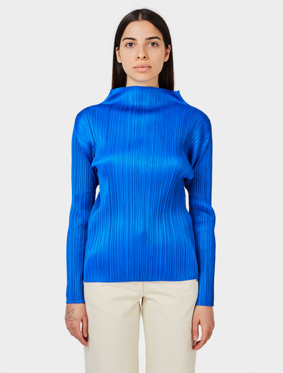 Pleated Shirt in Blue
