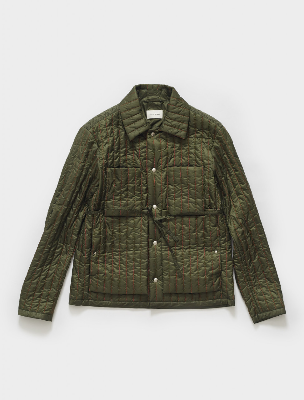 CGSS21CWOJKT01 CRAIG GREEN QUILTED WORKER JACKET IN GREEN ORANGE