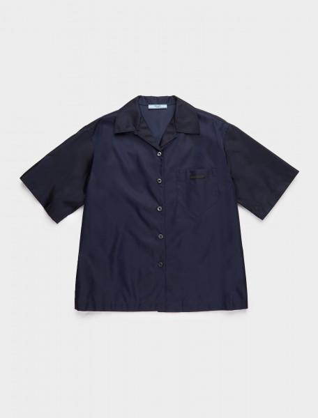 240691-F0008 PRADA RE NYLON SHIRT BLUE