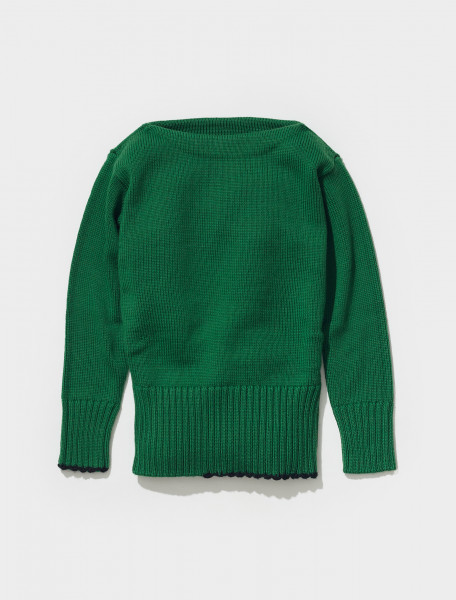 S50GP0257_S17832_663 MAISON MARGIELA WIDE NECK KNITTED SWEATED IN BRIGHT GREEN
