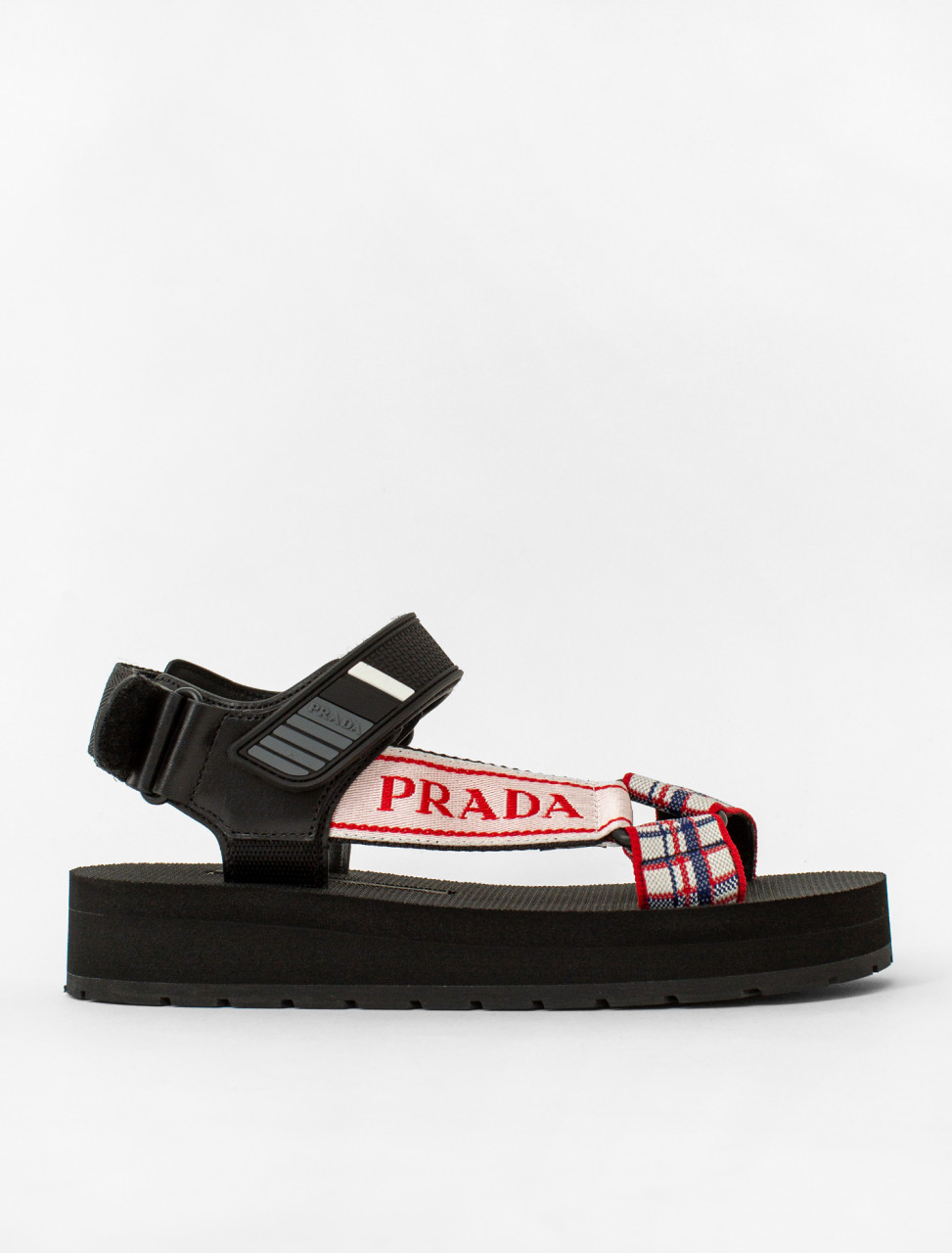 Sport-Knit Sandal in Black and Red