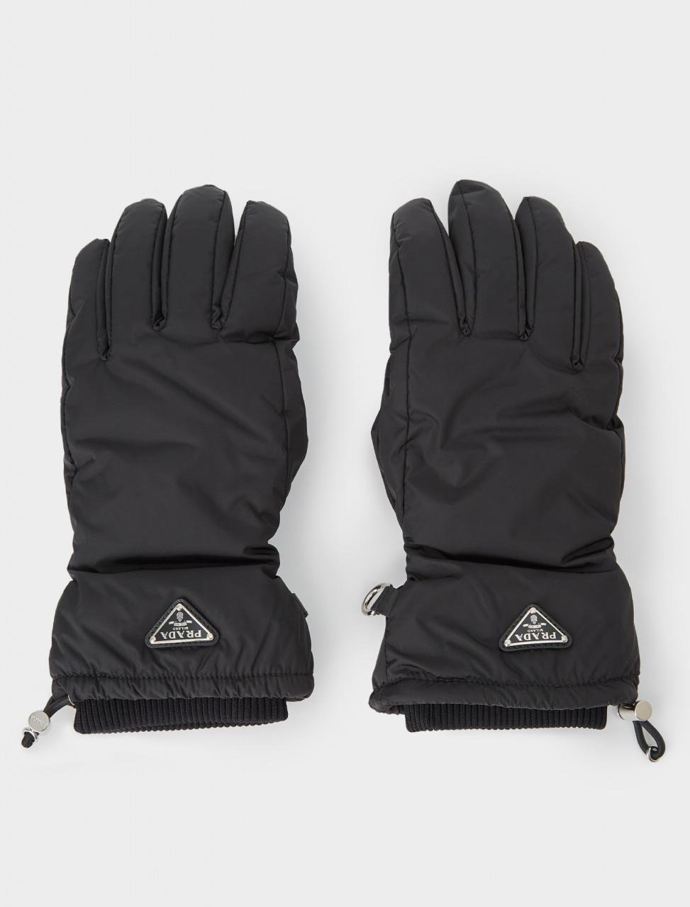 242-2GG092-Q04-F0002 PRADA Black Nylon Ski Gloves with Leather Inserts