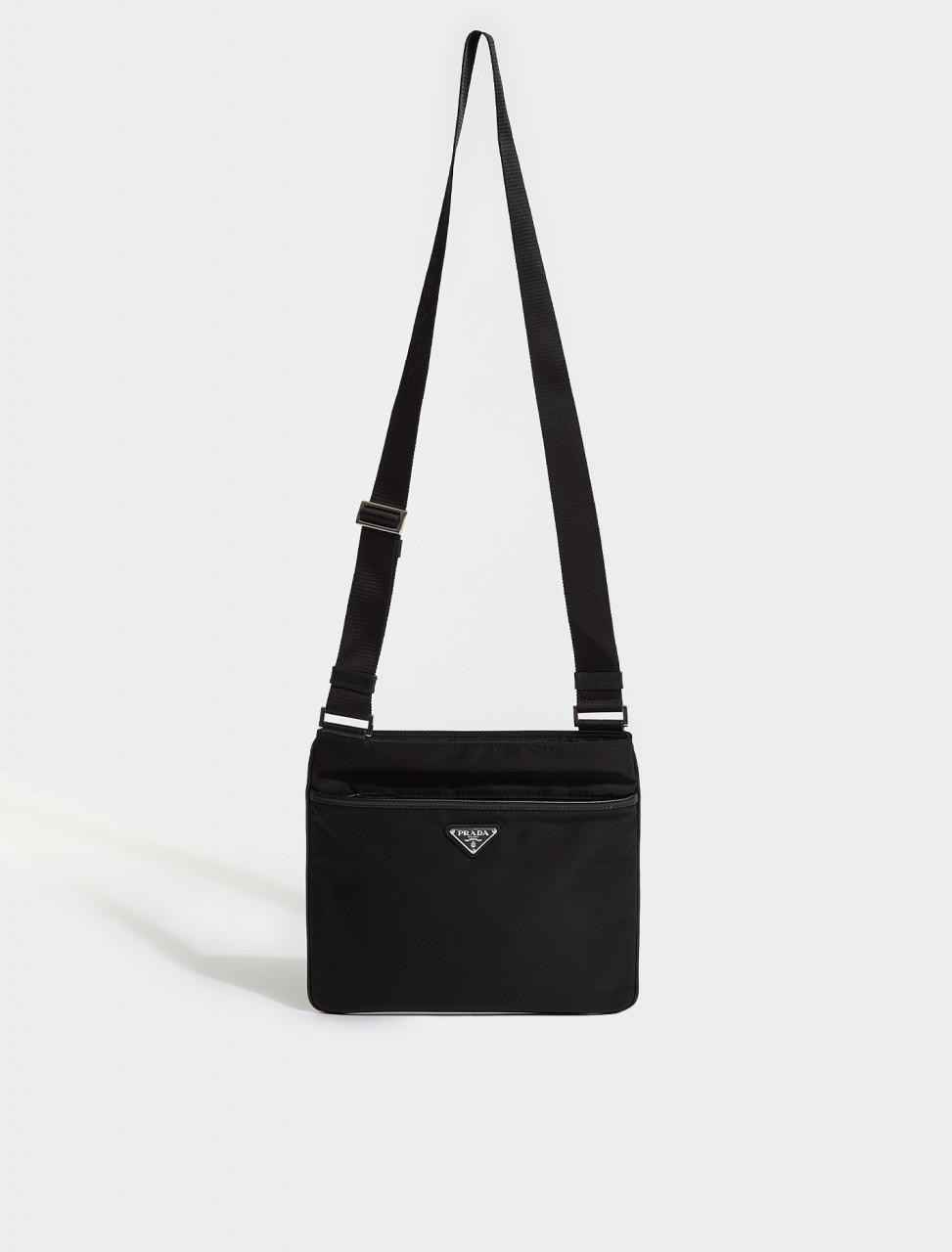 2VH053-F0002 PRADA RE-NYLON AND SAFFIANO LEATHER BAG WITH STRAP IN BLACK