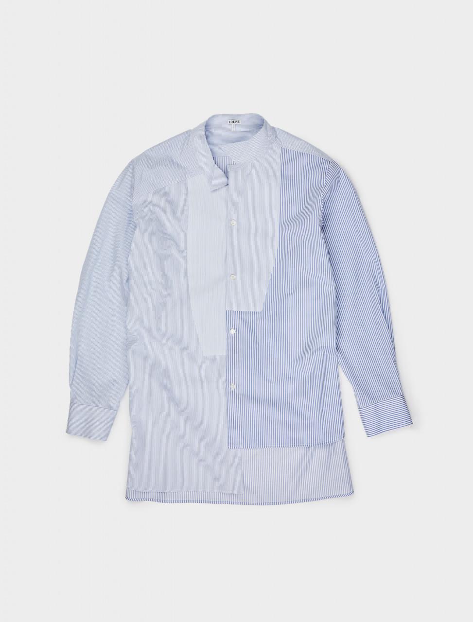 251-H526337W04 LOEWE SHIRT PATCHWORK ASYMMETRIC WHITE BLUE