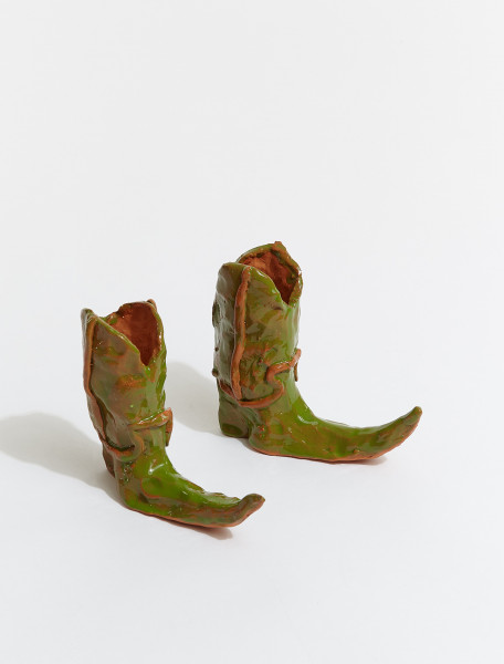 BOOTS-GRN HOT LEGS COWBOY BOOT CANDLE HOLDER IN GREEN