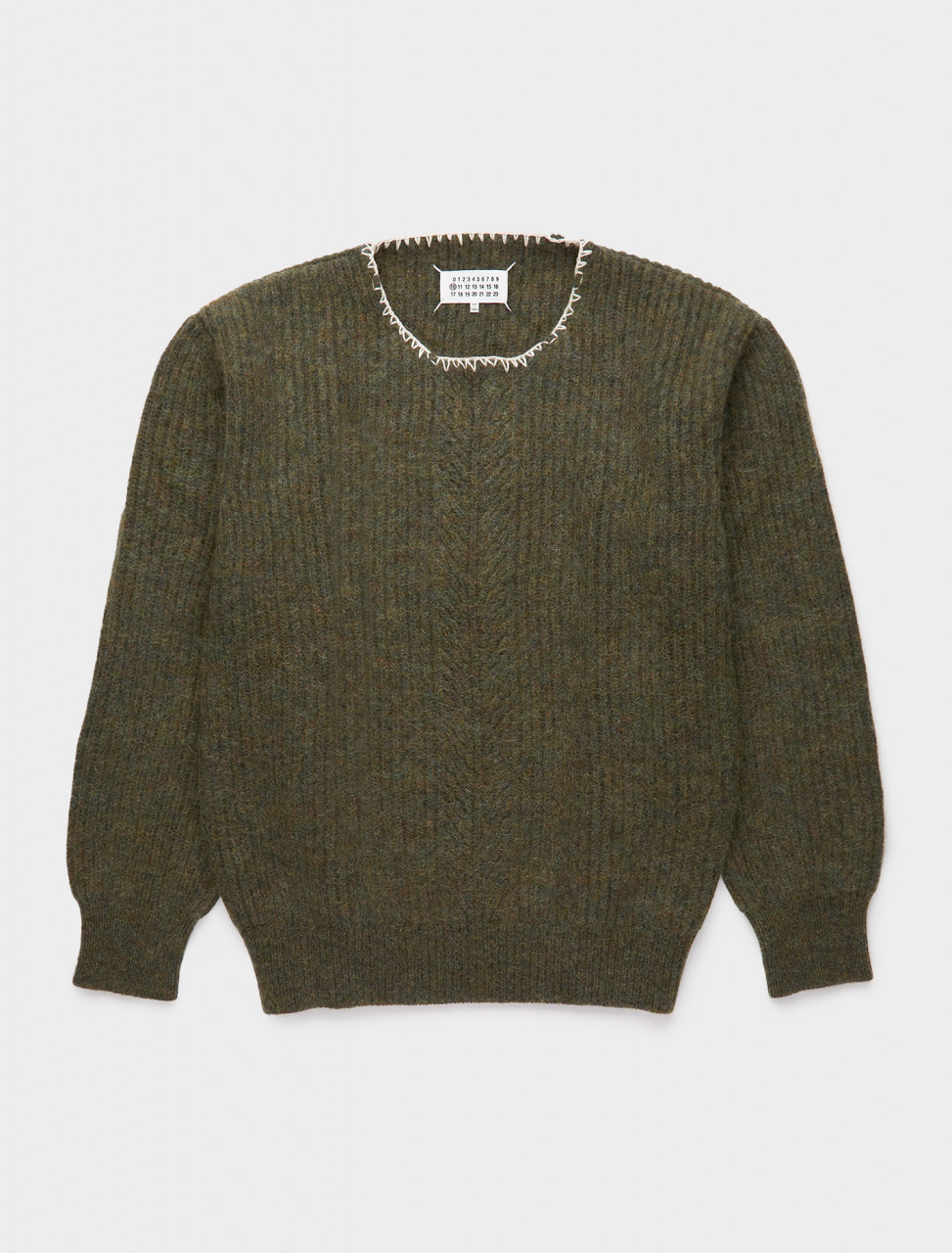 256-S30GP0320-S17443-693F MAISON MARGIELA WOOL MOHAIR SWEATER OLIVE