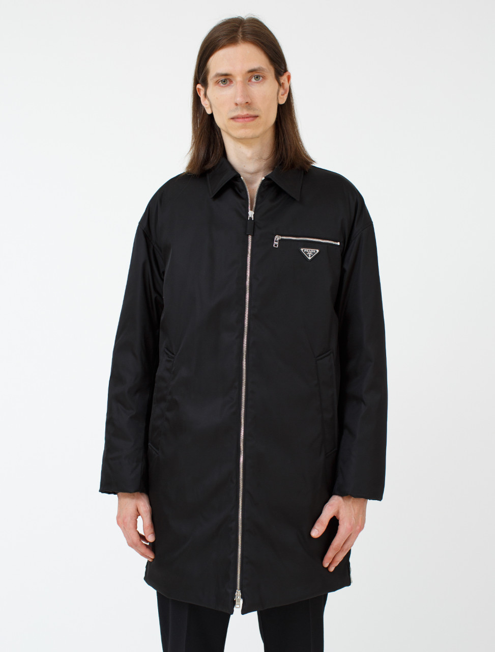 Nylon Gabardine Zip Up Coat