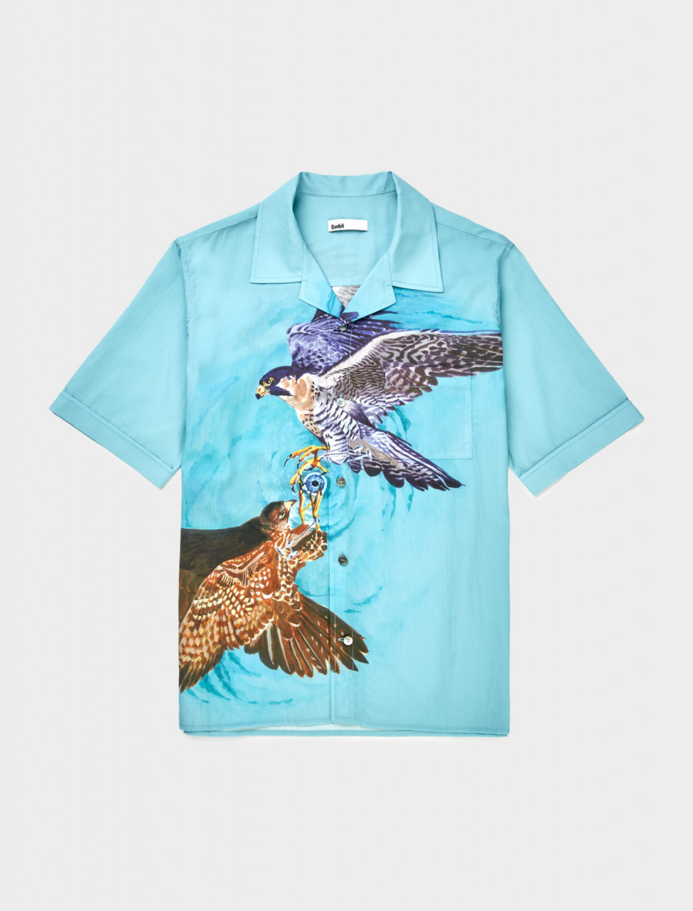 Front view of GmbH Luka Bowling Shirt with Falcon Print