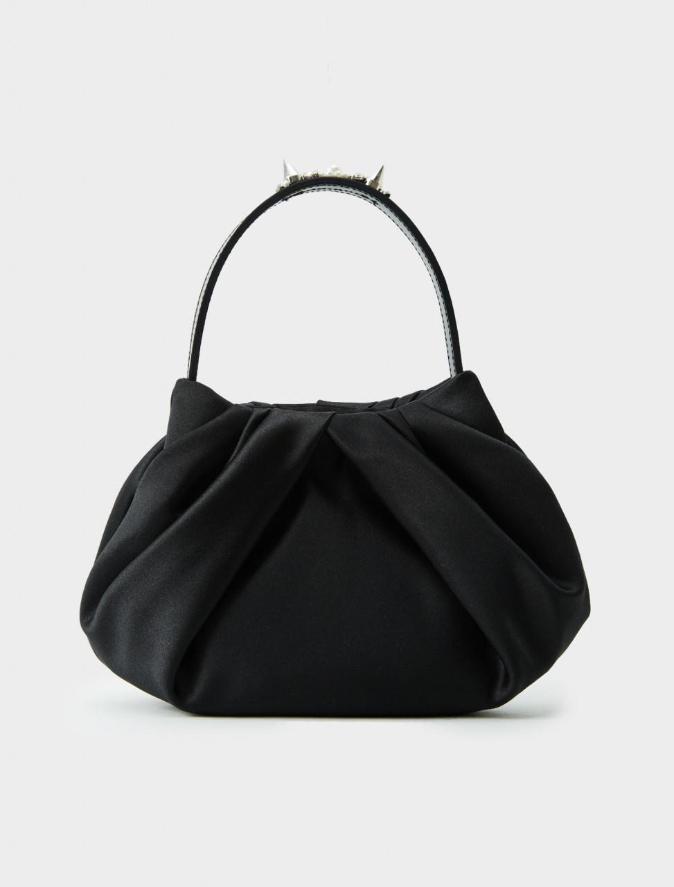 Simone Rocha Satin Mini Pleated Bag in Black