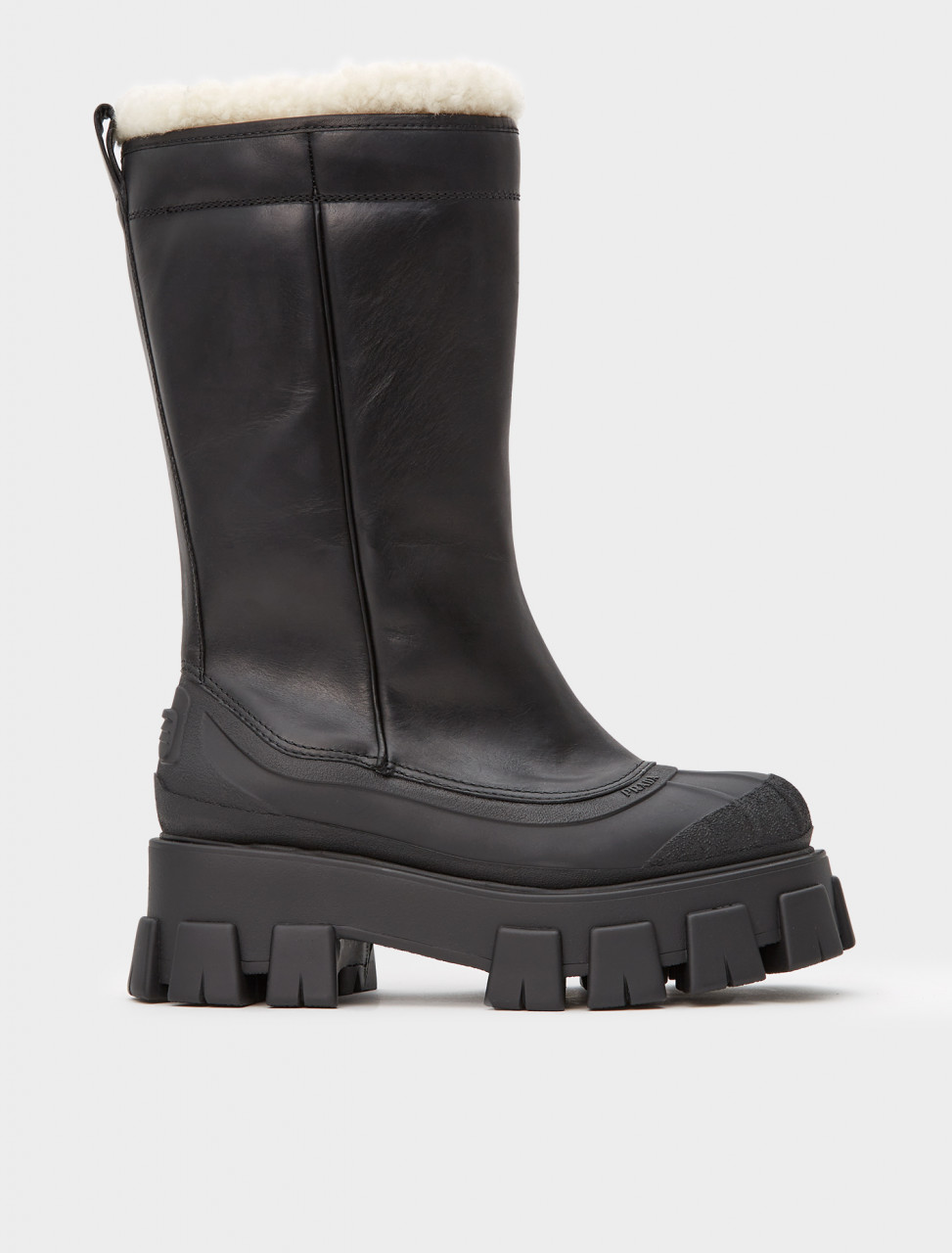 242-1W380M-3A6N-F0889-F-ZF55 PRADA SHEARLING LINED MONOLITH BOOT NERO NATURAL