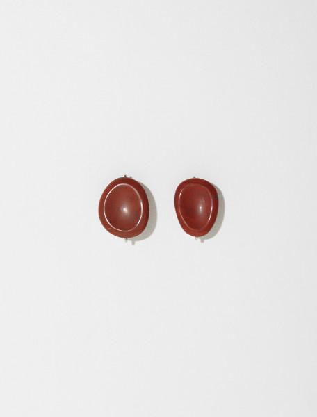 JSPT837205_WTS79016_211 JIL SANDER SMOOTH EARRINGS 1 IN BROWN
