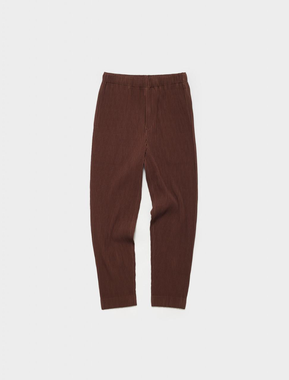 HP16JF128-44 HOMME PLISSE ISSEY MIYAKE Pleated Trousers in Burnt Umber Brown