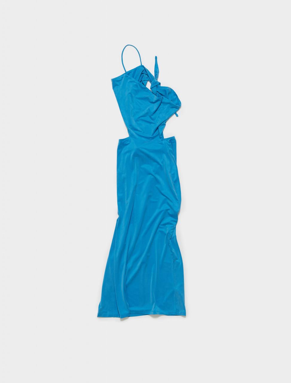 PJM015-119 PALOMA WOOL SAY ASYMMETRIC DRESS IN SOFT BLUE