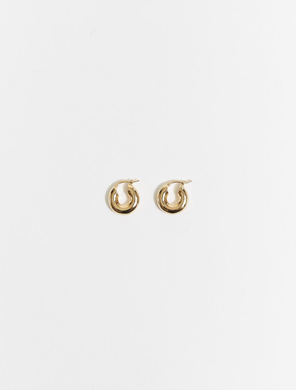 JSPT837312_WTS84002_710 JIL SANDER CLASSIC ROUND EARRINGS IN GOLD
