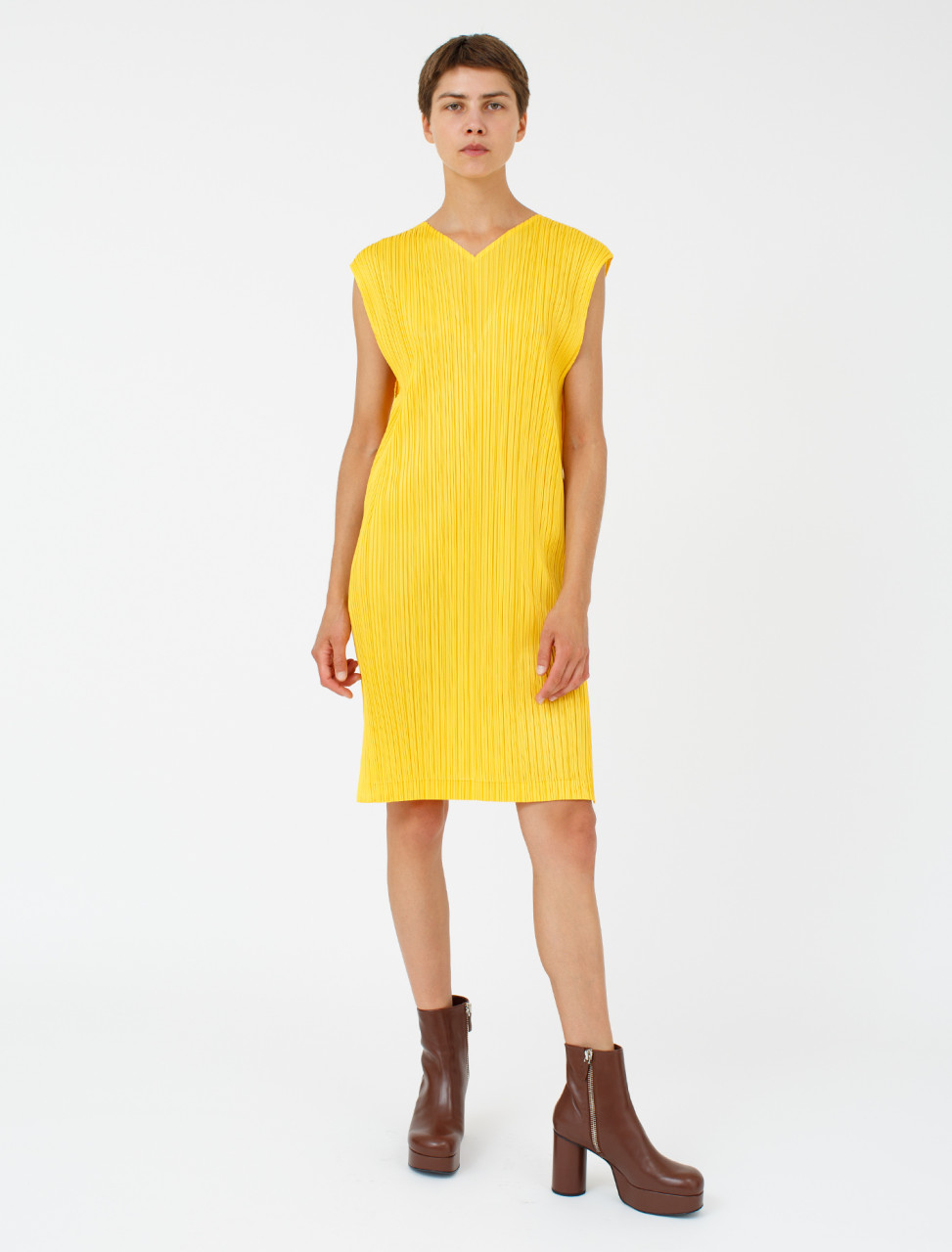 Pleated Dress in Bright Yellow