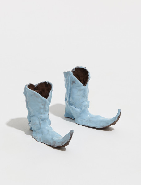 BOOTS-LTBLUE Hot Legs Cowboy Boot Candle Holders in Light Blue