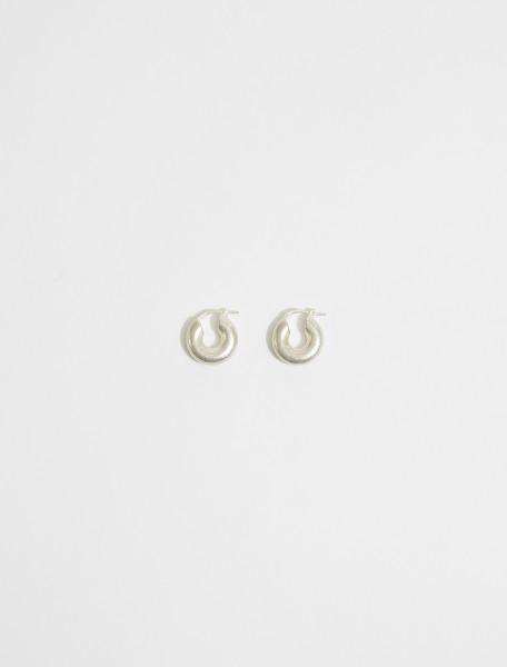 JSWS837312-WSS84002-041 JIL SANDER CLASSIC ROUND EARRINGS IN SILVER