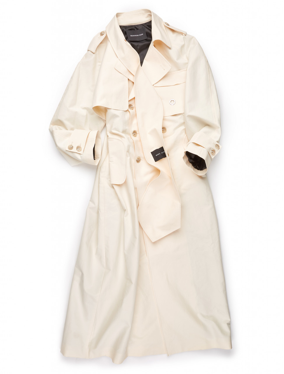 351-SWAW20-006 SEOKWOON YOON CREAM BIG TIE TRENCH COAT CREAM