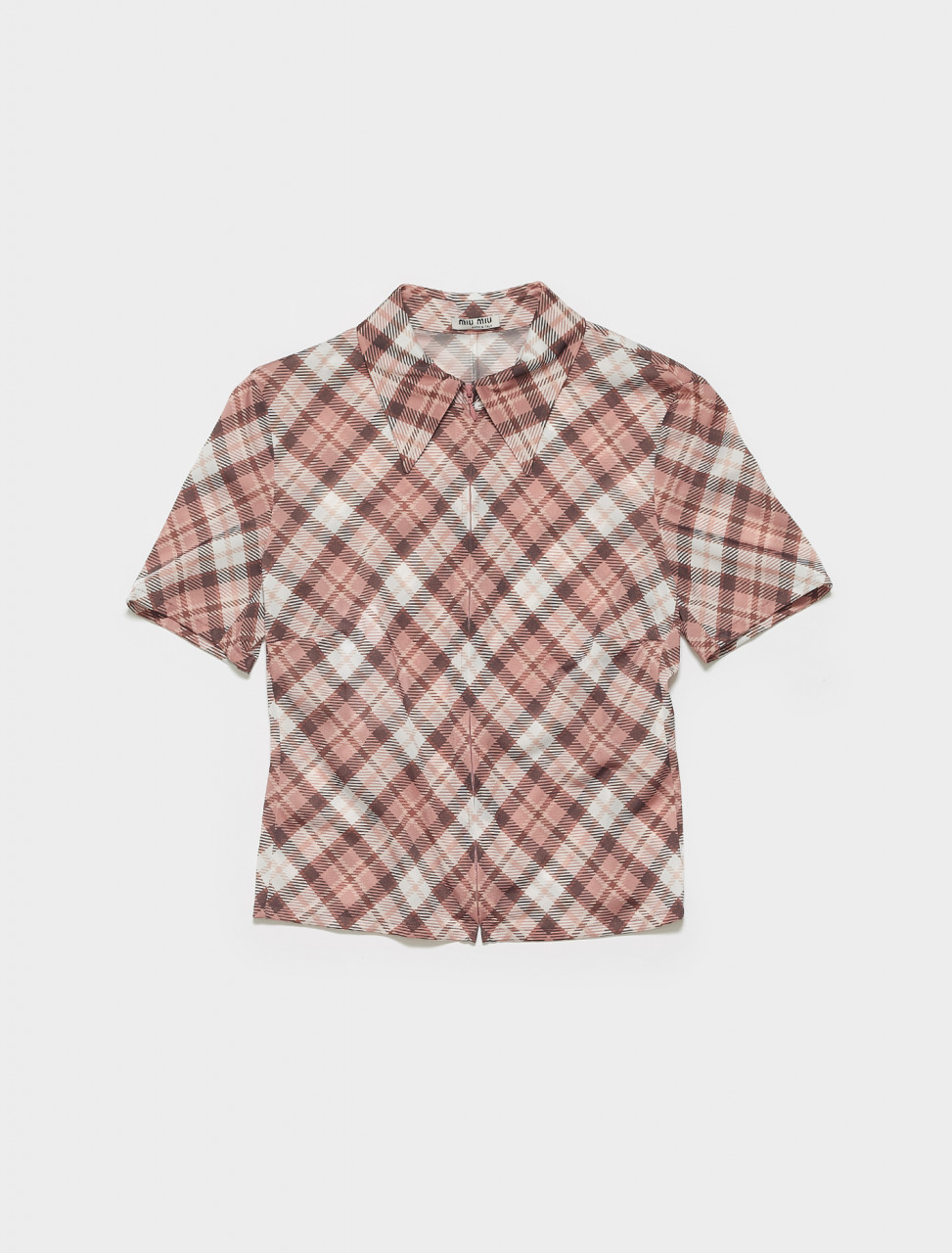 MK1542-F0AL2 MIU MIU PLAID PRINTED TIGHT KNIT SHIRT IN ALABASTER