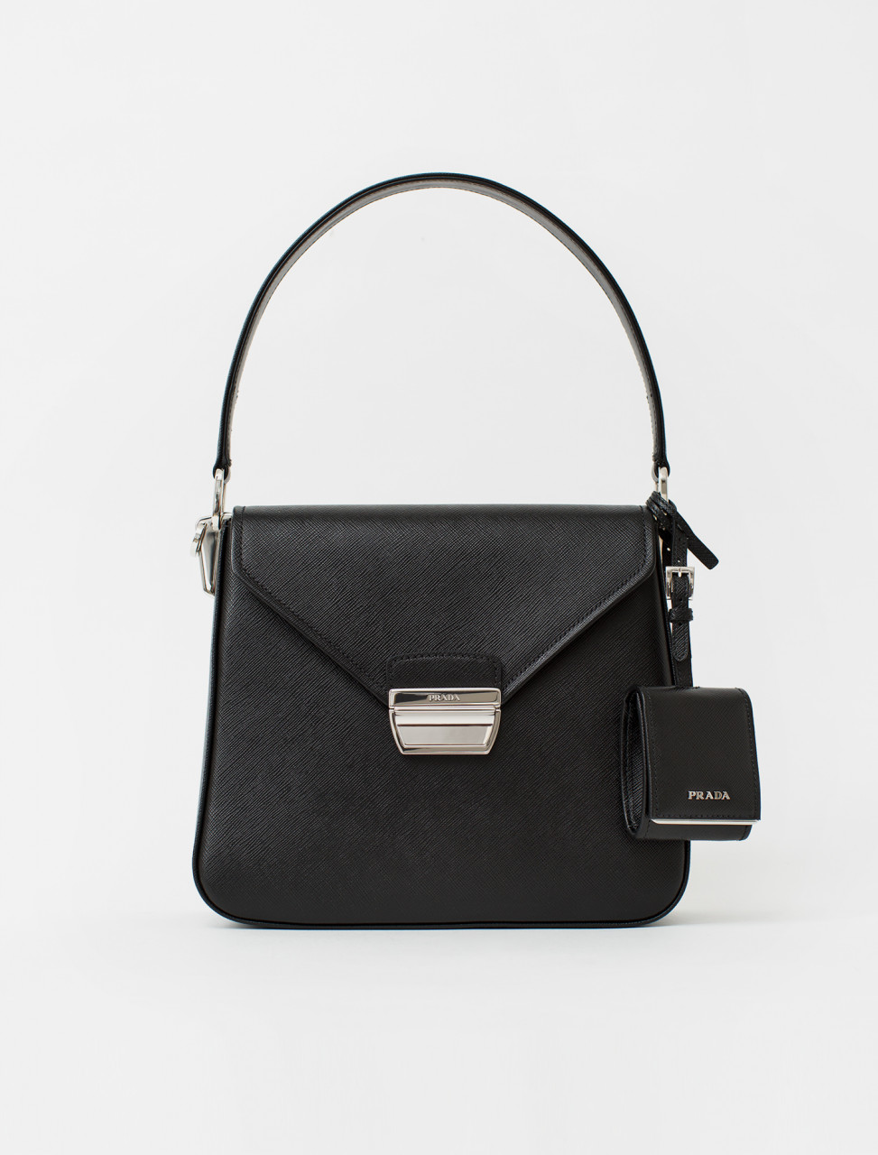 Saffiano Luxe Leather Handbag in Black
