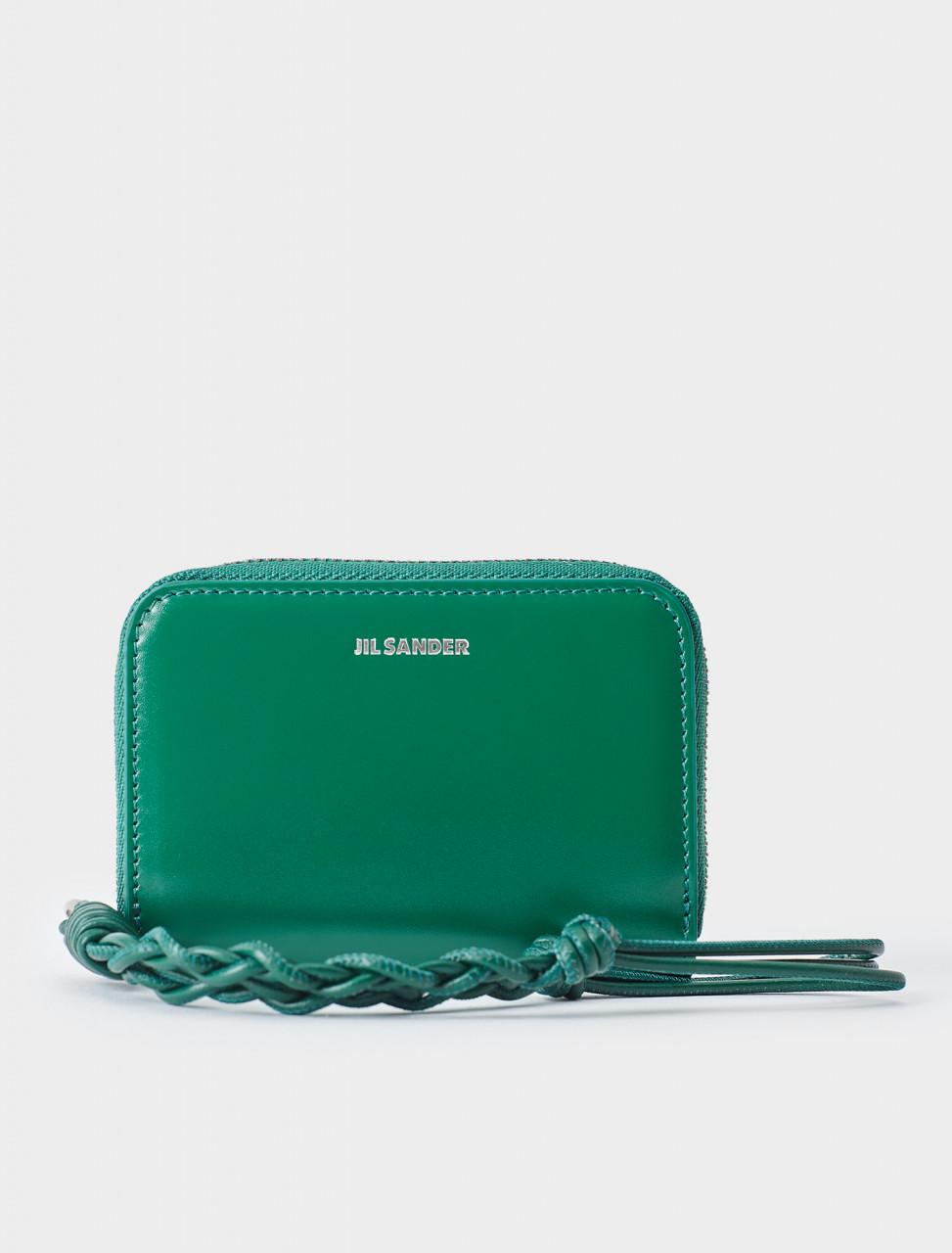 130-JSPR840053-WRS69146N-320 Jil Sander Small Zip Around Wallet in Bright Green