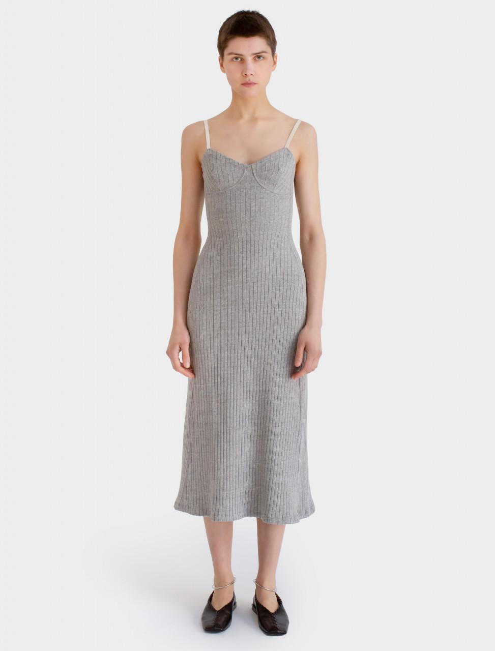Cotton Jersey Dress in Light Grey