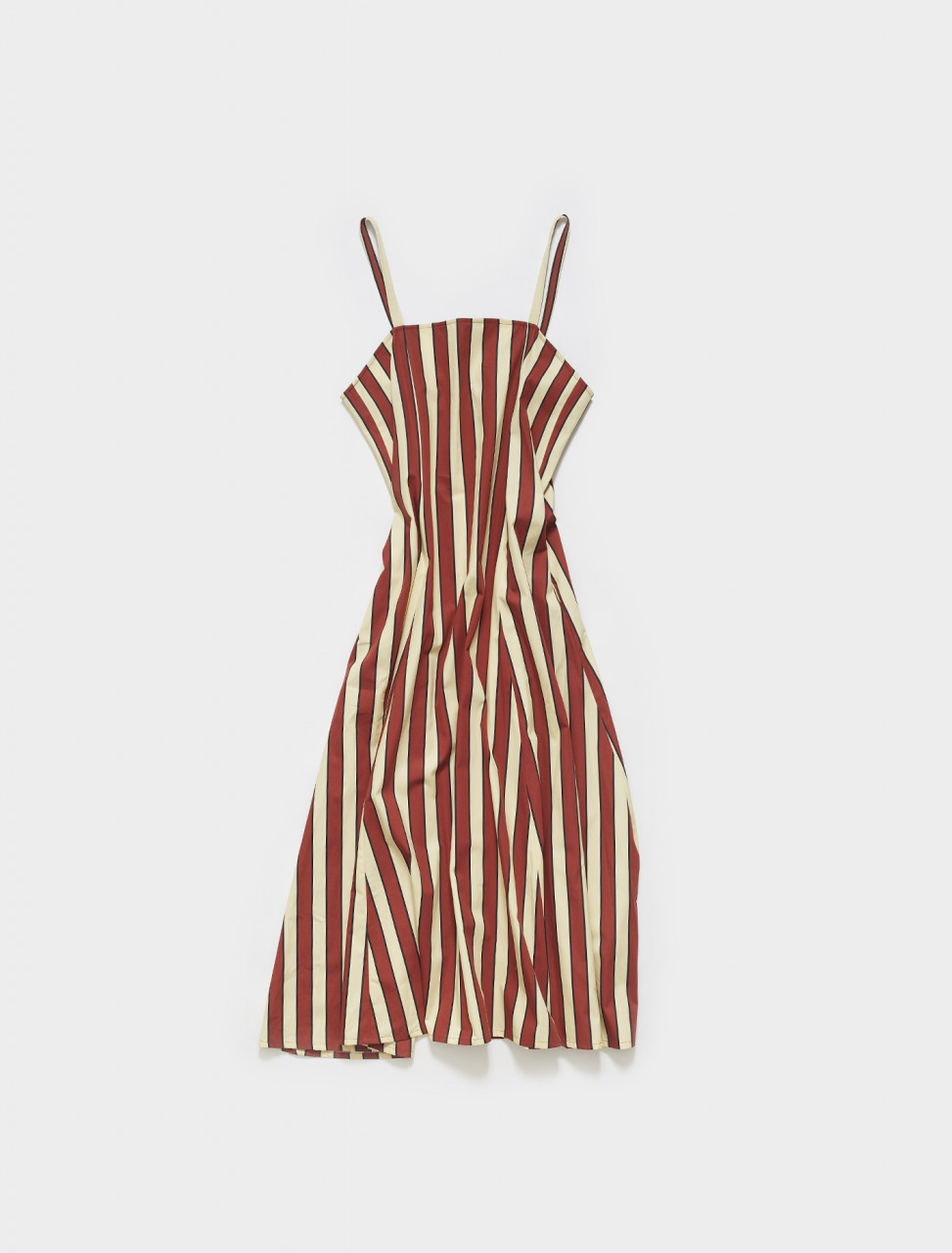 274-ABCAA03L00TC017-RIR60 PLAN C DRESS IN BORDEAUX AND YELLOW STRIPES