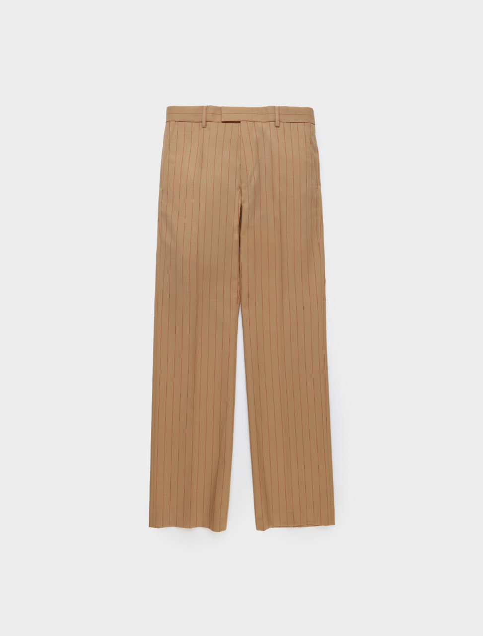 Dries van Noten Prowse Trouser in Camel and Red Pinstripe Front Detail