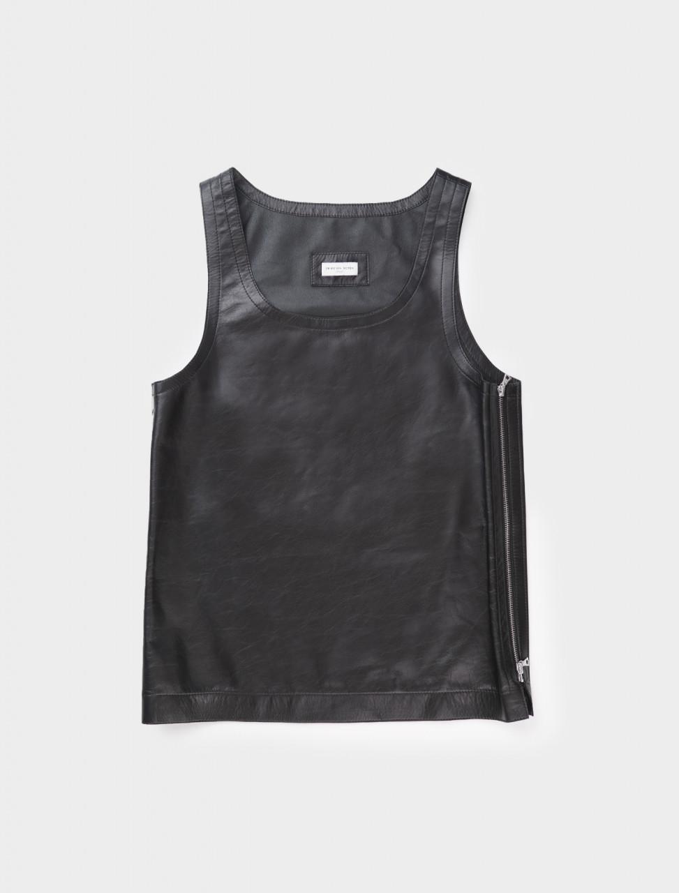 Dries van Noten Lee Leather Singlet Top in Black