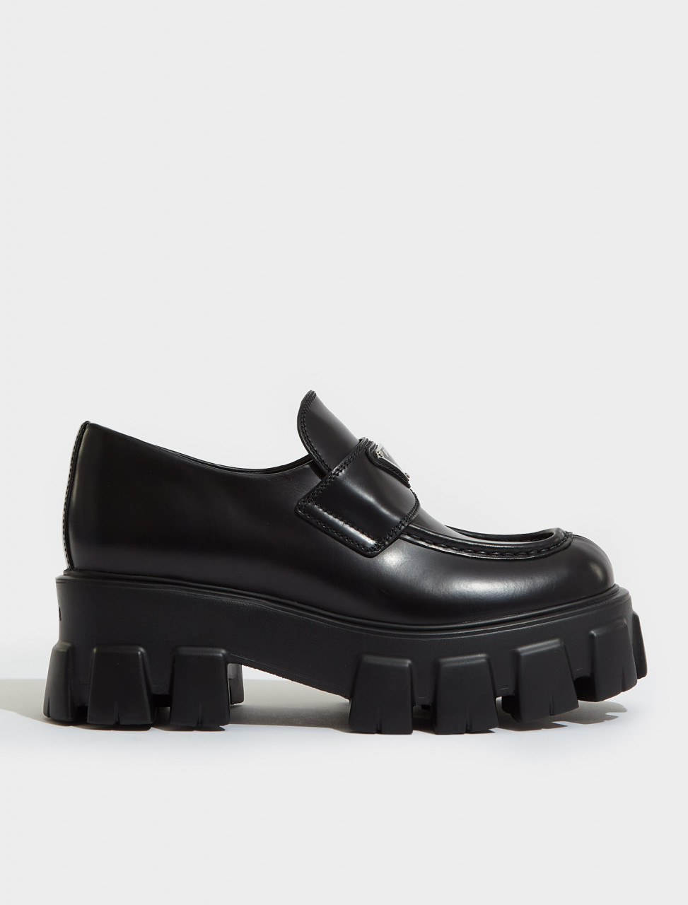 1D649M_B4L_F0002 PRADA MONOLITH BRUSHED LEATHER LOAFERS IN BLACK