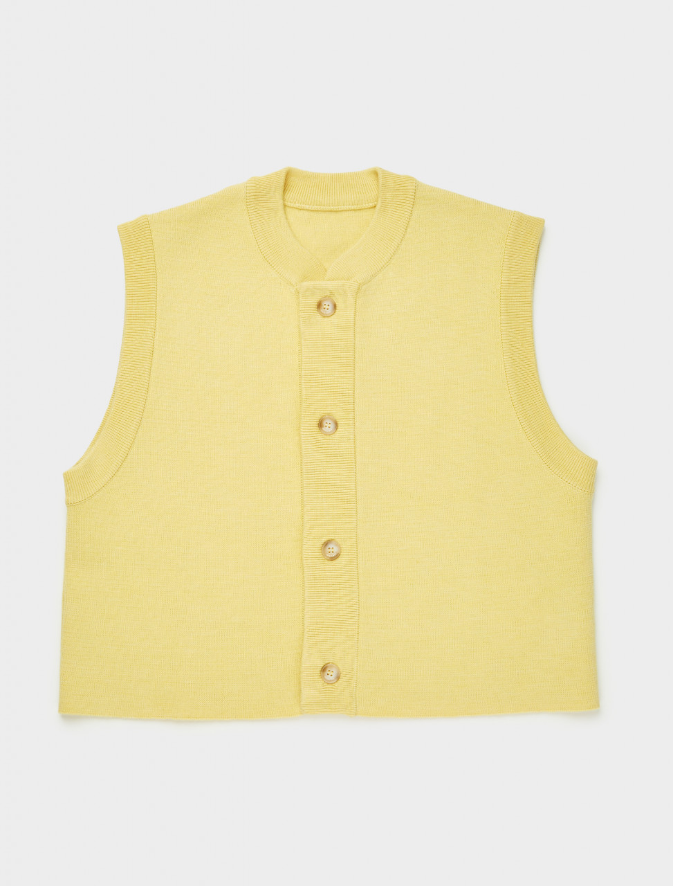 206KN07-206-200220 JACQUEMUS LE GILET EN MAILLE IN LIGHT YELLOW FRONT