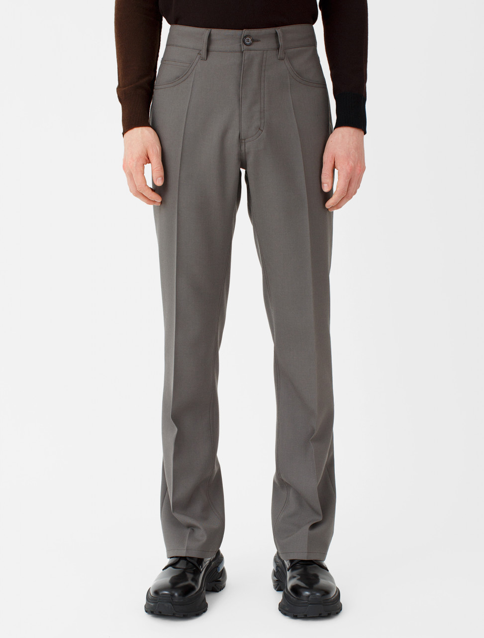 Wool Trousers in Clay Brown