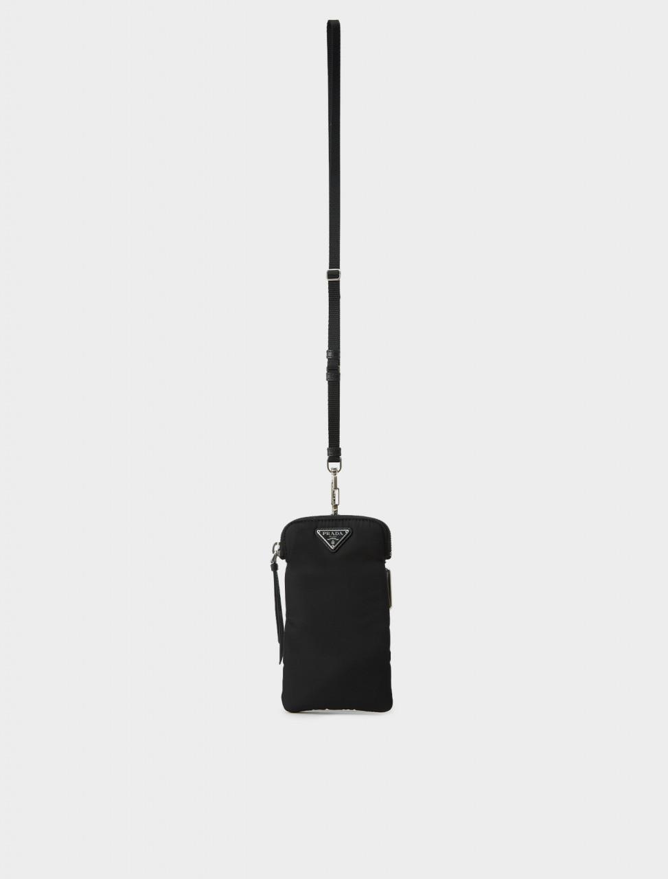 Prada Black Nylon Phone Case with Strap