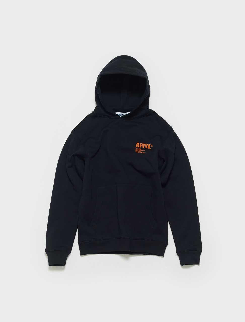 SS21HO04-Black & Orange AFFIX STANDARDISED LOGO HOODIE IN BLACK ORANGE