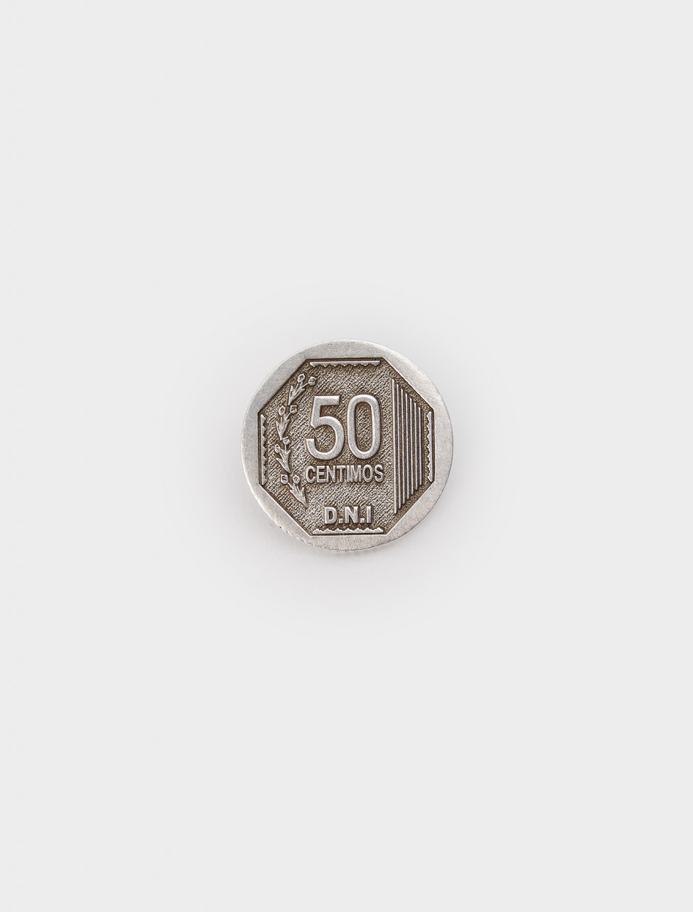 354-J01INT D.N.I 50 CENTIMOS MONO EARRING SILVER