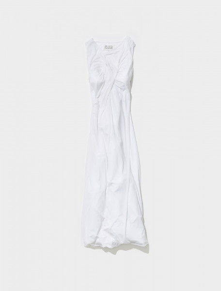 S51CU0283_S23922_100 MAISON MARGIELA ASYMMETRIC DRESS IN WHITE