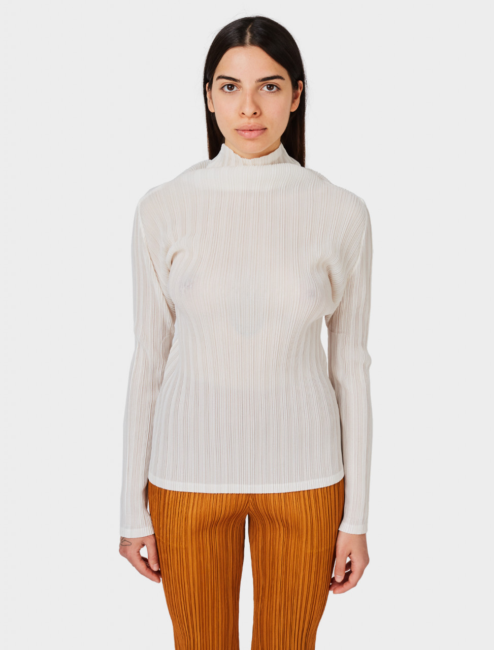 Pleats Please Issey Miyake Pleated Shirt in Off White