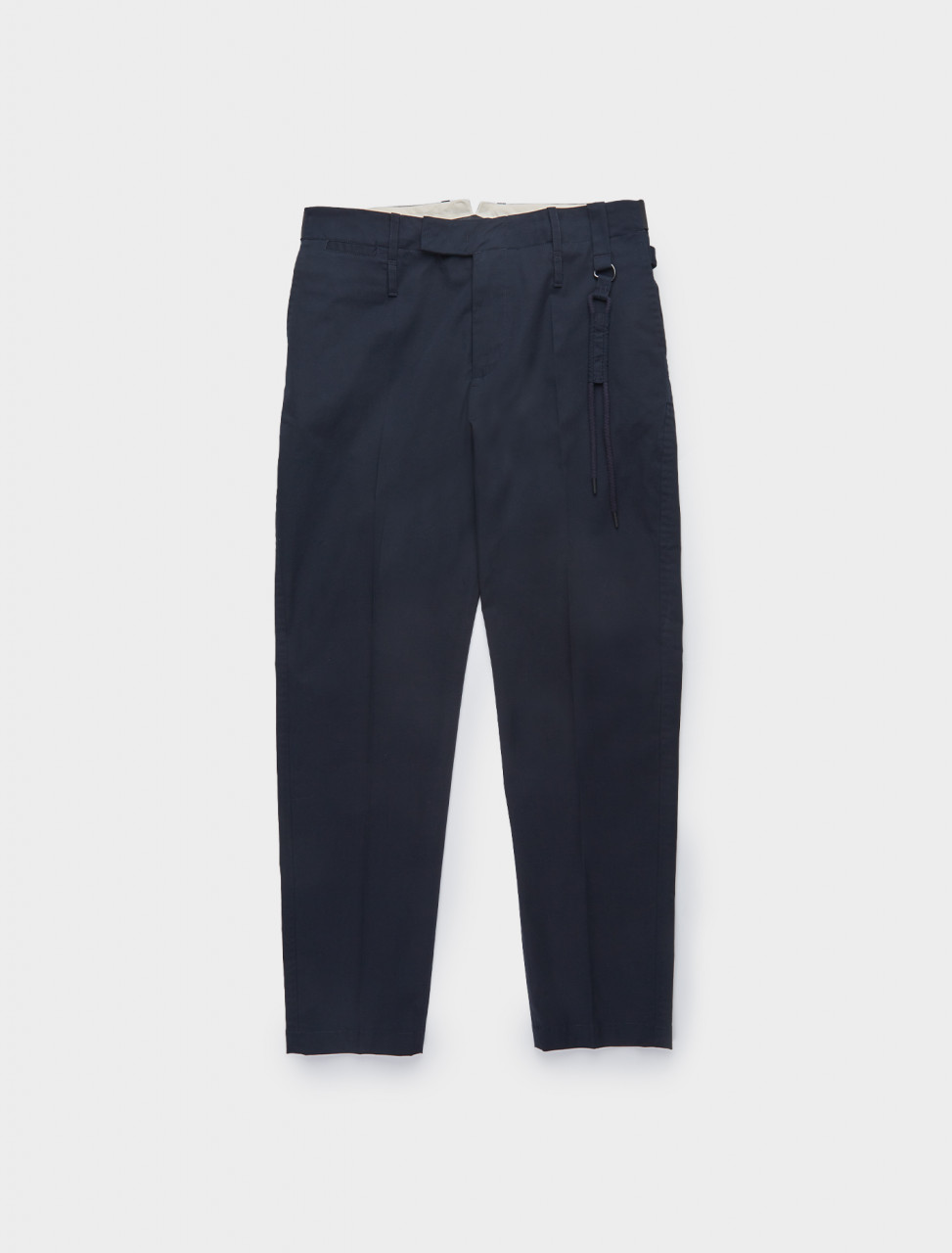 196-CGAW20CWOTRS0 CRAIG GREEN SILM UNIFORM TROUSERS NAVY FRONT