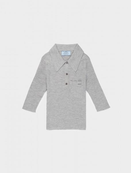 242-P24B1Q-1XA3-F0031 Prada Ribbed Polo in Grey